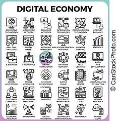 digital, concepto, economía, iconos