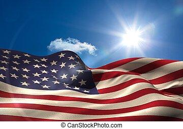 digital generado, norteamericano, ondulación, bandera