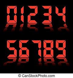 digital, números, rojo, reloj