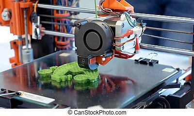 dimensional, plástico, impresora, tres, 3d