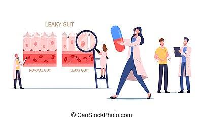 diminuto, gastrointestinal, sano, presentación, agujereado, diferencia, tracto, intestinal, inflamado, cells., doctors, intestino, syndrome.