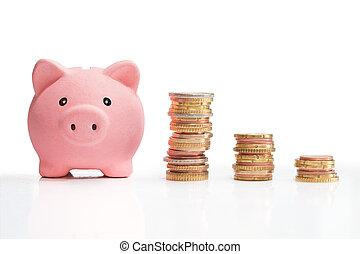 Dinero ahorrado y torre de dinero