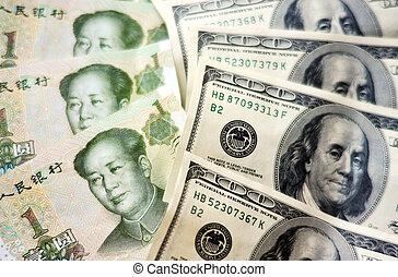 dinero, americano chino