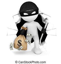 dinero, blanco, 3d, ladrón, gente