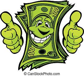 Dinero con manos que dan pulgares hacia arriba