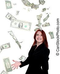 Dinero de mujer de negocios