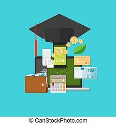 dinero, gerencia financiera, coste, educación
