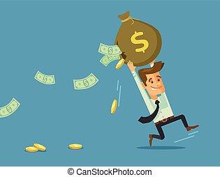dinero, hombre de negocios, perder