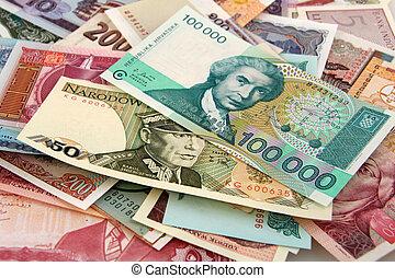dinero, papel, extranjero