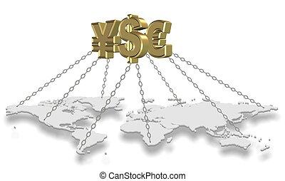 Dinero reteniendo mundo