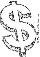 dinero, señal, garabato