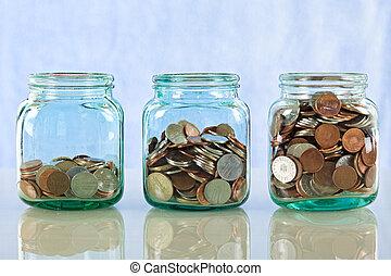 dinero, tarros, viejo, ahorro