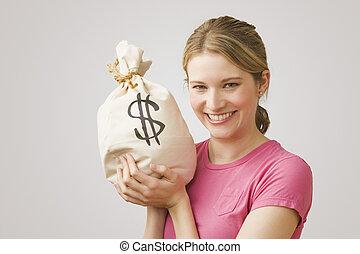 dinero, tenencia, mujer, bolsa