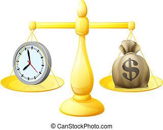 dinero, tiempo, balance, escalas