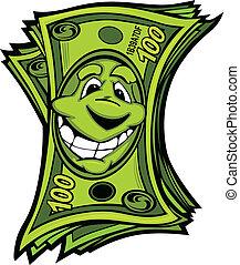 dinero, vector, caricatura, fácil, feliz
