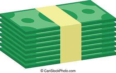 dinero, vector, pila, icono