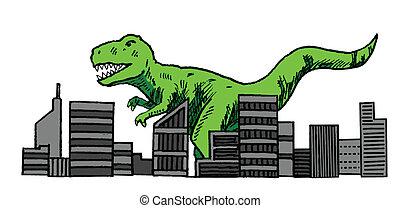 Dinosaurio atacando la ciudad