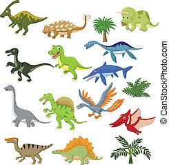 dinosaurio, caricatura, conjunto, colección