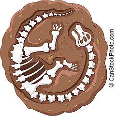 dinosaurio, caricatura, fósil