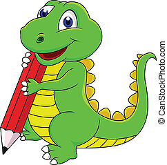 dinosaurio, feliz, caricatura, escritura