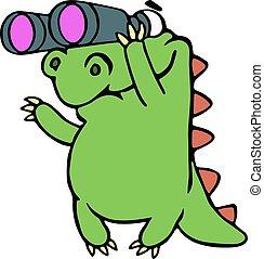 Dinosaurio mirando a través de binoculares