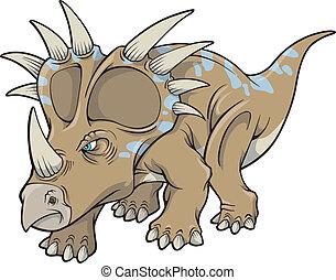 dinosaurio, triceratops, vector, arte