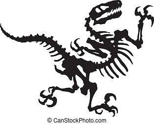dinosaurio, vector, raptor, fósil