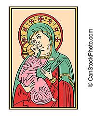 dios, icono, madre