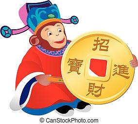 dios, mono, chino, prosperidad