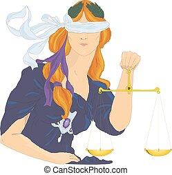 diosa, themis, illustration., justicia, justice., femida, símbolo., vector, dama