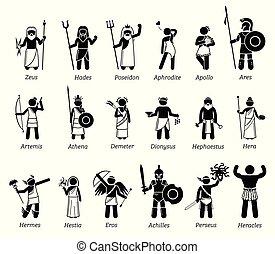 dioses, diosas, conjunto, griego, antiguo, icono, mitología, caracteres
