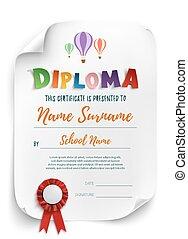 Diploma plantilla con globos de aire.