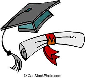 Diploma y gorra de graduación.