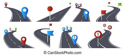 dirección, aislado, infographic, camino, ruta, pins., mapa de carreteras, asfalto, vector, ilustración, caminos, marcado, navegación, manera, doblando, conjunto