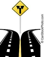 dirección, decisión, flechas, señal, futuro, opción, camino