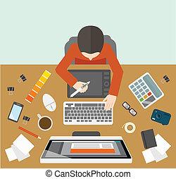 dirección, diseñador, lugar de trabajo