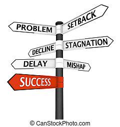 dirección, encrucijada, éxito, señal