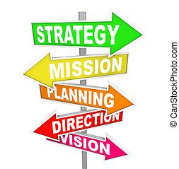 dirección, misión, estrategia, planificación, señales carretera, visión