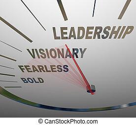 dirección, negrita, intrépido, liderazgo, velocímetro, visión