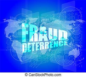 dirección, pantalla, fraude, palabras, digital, concept:, deterrence