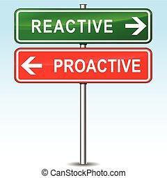 direcciones, reactivo, proactive, señal