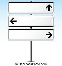 direcciones, roadsign, vector, tres