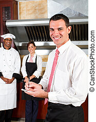 director, feliz, restaurante
