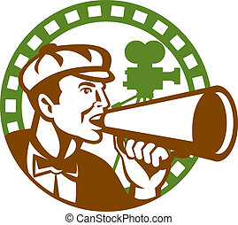 director película, cámara, megáfono, retro, vendimia