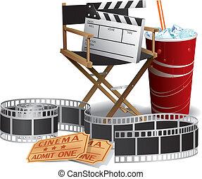 director, película, silla