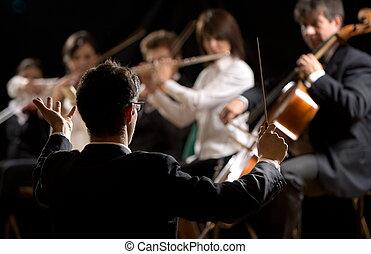 dirigir, orquesta sinfonía, conductor