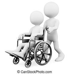 discapacitada / discapacitado, porción, personas., blanco, 3d
