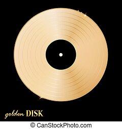 Disco de oro vinil en fondo negro. Ilustración de vectores