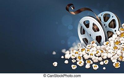 Discos de película cinematograpia en palomitas. Pancarta de película en línea.