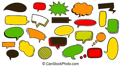 discurso, garabato, cómico, dibujado, caricatura, conjunto, vector, tags., elements., moderno, ilustración, diseño, texto, caricaturas, nubes, banderas, bubbles., comunicación, colorido, mano, pegatina